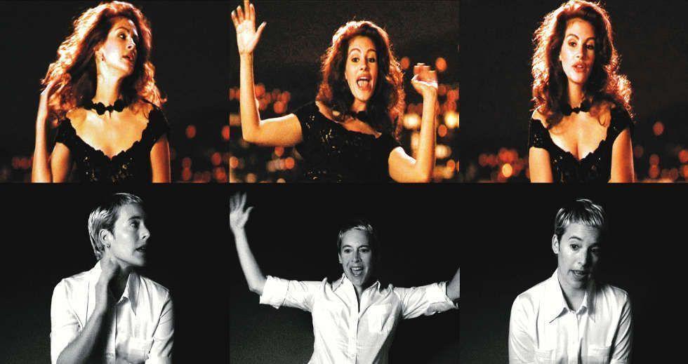 Candice Breitz, Becoming (Filmstill: Julia Roberts), 2003, 14-Kanal-Video-Installation (7 2-Kanal-Video-Installationen), Größe variabel (Courtesy KOW Berlin, Film-Stills: Alexander Fahl)