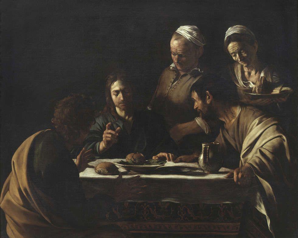 Caravaggio, Das Gastmahl in Emmaus, 1605/06, Öl/Lw, 141 x 175 cm (Pinacoteca di Brera, Mailand © Pinacoteca di Brera)