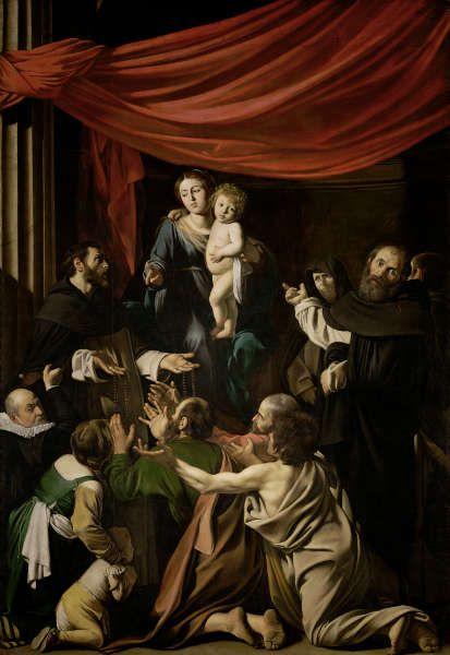 Caravaggio, Rosenkranzmadonna, um 1601, Öl/Lw, 364,5 × 249,5 cm (Kunsthistorisches Museum Wien, Gemäldegalerie © KHM-Museumsverband)
