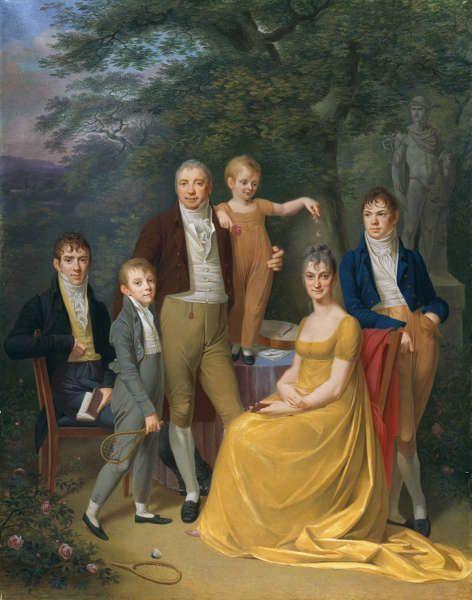 Carl Friedrich Demiani, Familienbild, 1806, Gouache auf Pergament, aufgezogen auf Leinwand, 56,5 cm x 44,8 cm (Kunsthalle Bremen – Der Kunstverein in Bremen)
