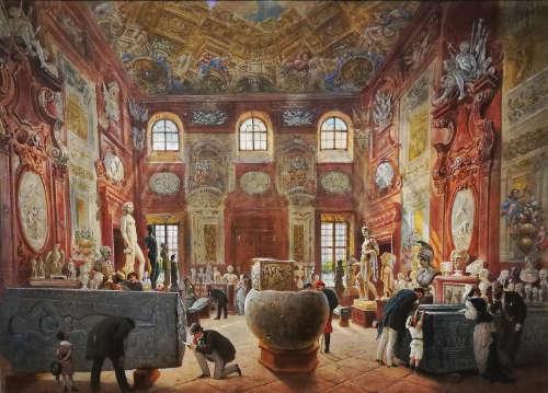 Carl Goebel d.J., Der große Marmorsaal des Unteren Belvedere mit den Skulpturen der Antikensammlung, 1876, Aquarell auf Papier (Belvedere), Foto: Alexandra Matzner, ARTinWORDS.