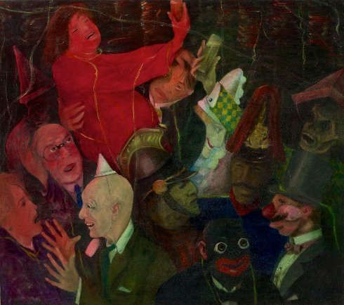 Carl Lauterbach, Karneval, 1929, Öl auf Leinwand, 130 × 145 cm (Stadtmuseum Landeshauptstadt Düsseldorf, © Archiv Carl Lauterbach / Stadtmuseum Landeshauptstadt Düsseldorf, Foto: Horst Kolberg / Stadtmuseum Landeshauptstadt Düsseldorf)