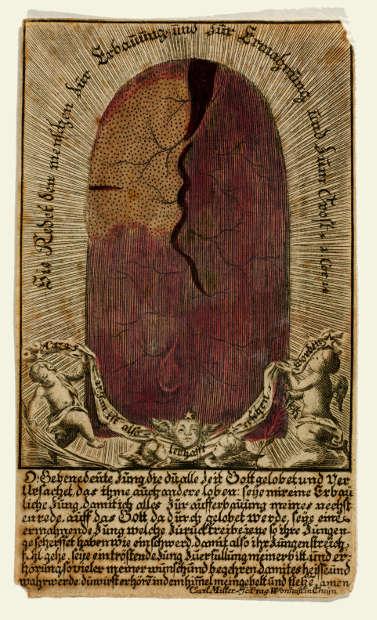 Carl Miller, Nepomuk-Zunge mit Gebet, 1725, Kupferstich, koloriert (Dommuseum Salzburg / J.Kral)