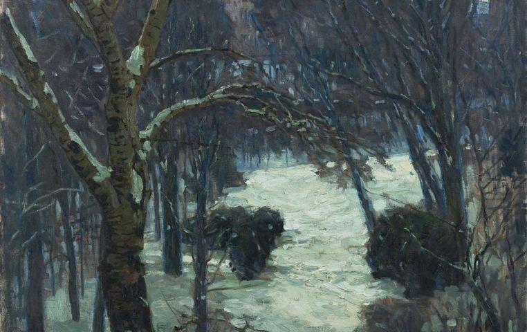 Carl Moll, Winter auf der Hohen Warte, Detail, 1912/1914, Öl/Lw (Leopold Museum)