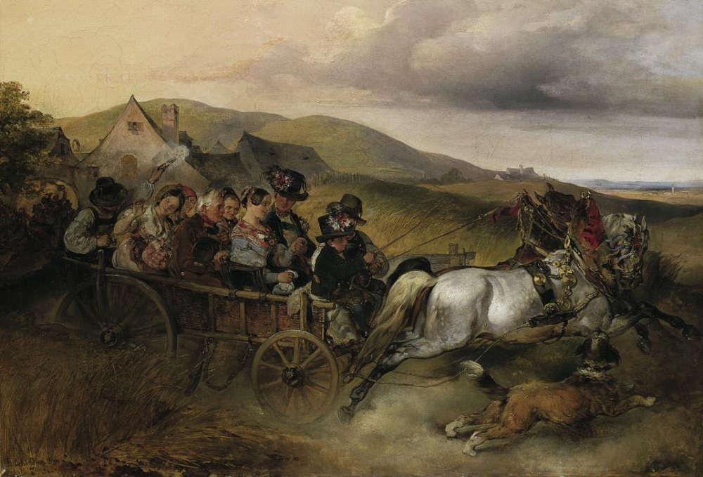 Carl Schindler, Die Hochzeitsfahrt, 1841, Öl/Lw, 40 x 58 cm (© Belvedere, Wien)