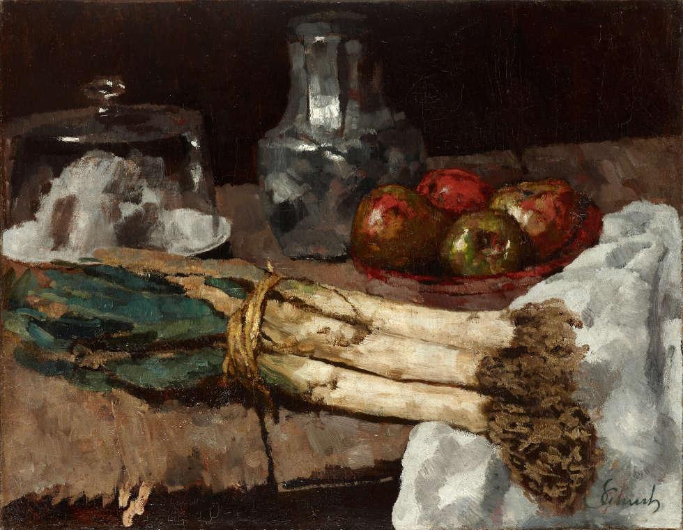 Carl Schuch, Stillleben mit Porree, um 1886/88 (Städtische Galerie im Lenbachhaus und Kunstbau München, Foto: Lenbachhaus)