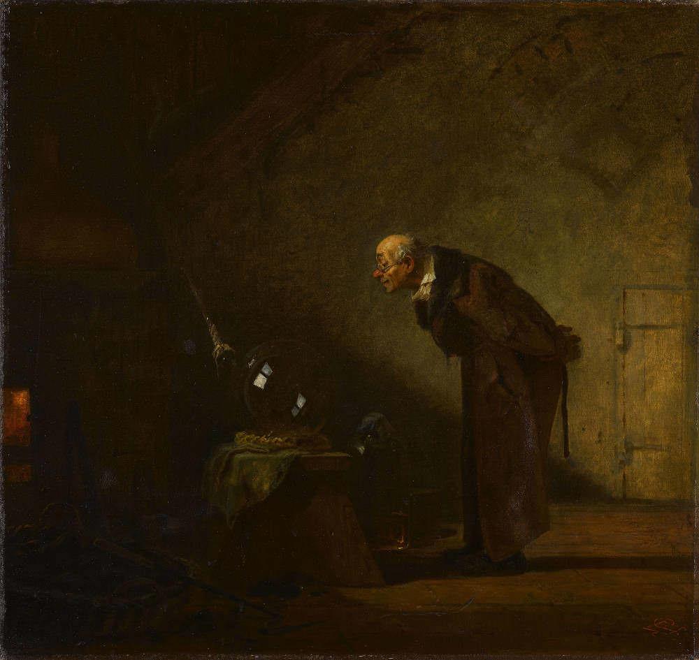 Carl Spitzweg, Der Alchimist, um 1860, Öl auf Leinwand (Staatsgalerie Stuttgart, © Staatsgalerie Stuttgart)