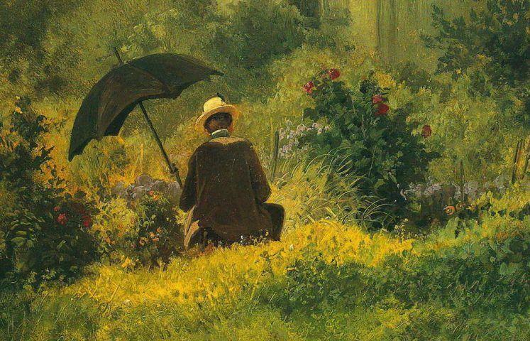 Carl Spitzweg, Der Maler im Garten, Detail, um 1870, Öl/Karton, 22 × 34,5 cm (Wintherthur, Reinhart am Stadtgarten)