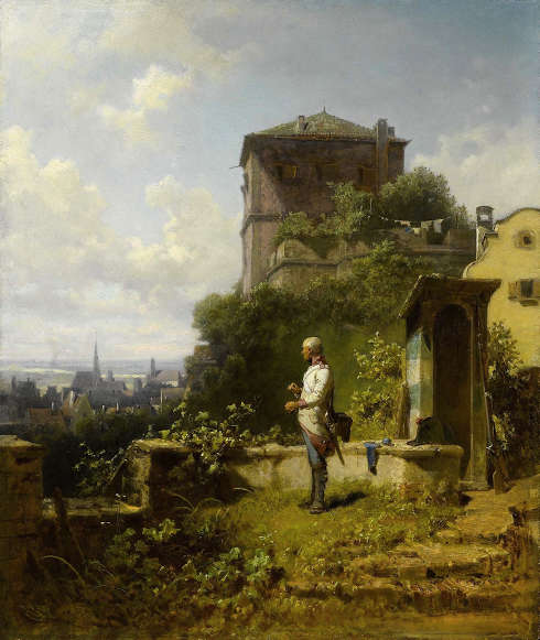 Carl Spitzweg, Lueg ins Land, um 1870, Öl/Holz, 43 x 35,5 cm (Privatsammlung)