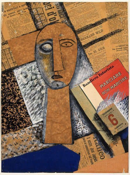 Carlo Carrà, Composizione [Komposition], 1915, Collage, Tempera, Gouache und Kohle, 40,9 x 30,2 cm (Moskau, State Pushkin Museum of Fine Arts © Foto: State Pushkin Museum of fine Arts, Moskau)
