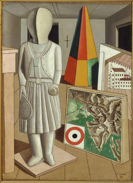 Carlo Carrà, La musa metafisica [Die metyphysische Muse], 1917, Öl/Lw, 90 x 66 cm (Mailand, Pinacoteca di Brera)