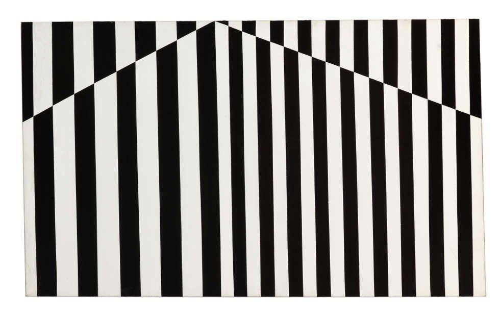 Carmen Herrera, Verticals, 1952, Acryl auf Leinwand, 71,75 x 119,38 cm (Privatsammlung Portugal, © Carmen Herrera, Foto: © Kunstsammlung NRW)
