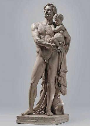 Jean-Baptiste Carpeaux, Hektor bittet die Götter seinen Sohn Astyanax zu schützen, 1854, Patinierter Gips