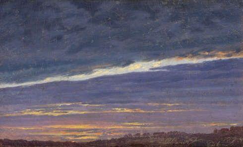 Caspar David Friedrich, Abendlicher Wolkenhimmel, 1824, Öl auf Leinwand, 12,5 x 21,2 cm (Belvedere, Wien, Foto Johannes Stoll)