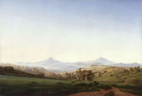 Caspar David Friedrich, Böhmische Landschaft mit dem Milleschauer, 1808 (SKD, Dresden)