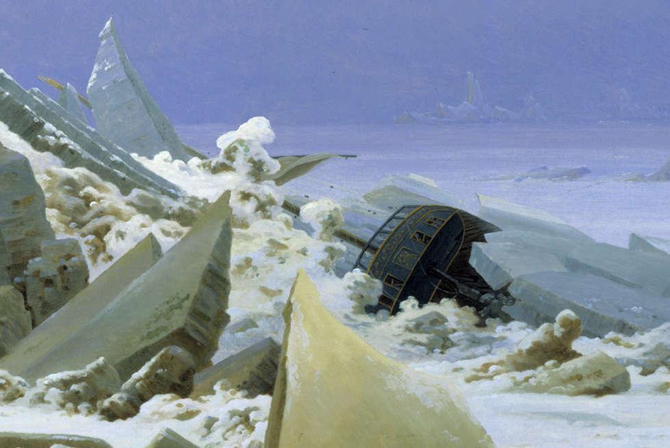 Caspar David Friedrich, Das Eismeer, Schiff, 1823/24, Öl auf Leinwand, 96,7 x 126,9 cm (© Hamburger Kunsthalle / bpk, Foto: Elke Walford)