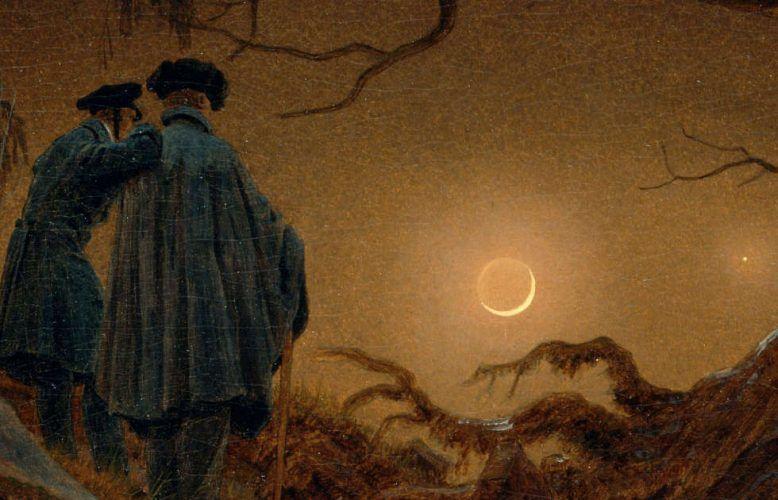 Caspar David Friedrich, Zwei Männer in Betrachtung des Mondes, Detail, 1819/20, Öl/Lw, 33 x 44,5 cm (© SKD, Albertinum, Foto: Jürgen Karpinski)