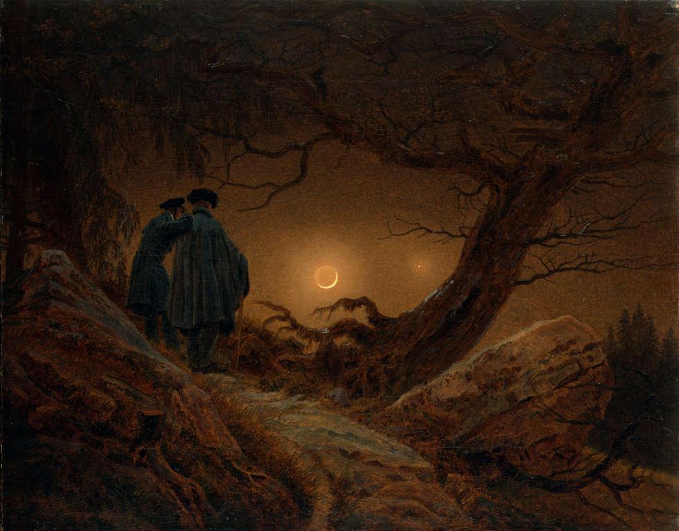 Caspar David Friedrich, Zwei Männer in Betrachtung des Mondes, 1819/20, Öl/Lw, 33 x 44,5 cm (© SKD, Albertinum, Foto: Jürgen Karpinski)
