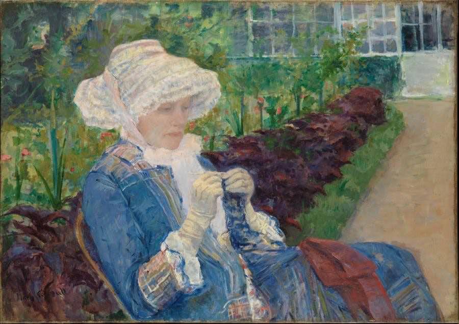 Mary Cassatt, Je jardin [Der Garten; Lydia häkelnd im Garten von Marly], 1880, Öl auf Leinwand, 65.6 x 92.6 cm (The Metropolitan Museum of Art, New York, Gift of Mrs. Gardner Cassatt, 1965)