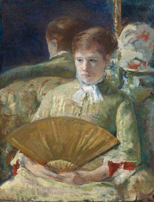 Mary Cassatt, Étude de femme avec éventail [Studie einer Frau mit Fächer (Miss Mary Ellison)], um 1880, Öl auf Leinwand, 85.5 x 65.1 cm (National Gallery of Art, Washington, Chester Dale Collection)