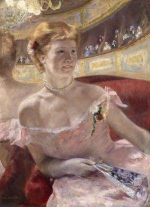 Mary Cassatt, Femme dans une loge [Frau mit einer Perlenkette in einer Loge], 1879, Öl auf Leinwand, 81.3 x 59.7 cm (Philadelphia Museum of Art, Bequest of Charlotte Dorrance Wright, 1978)