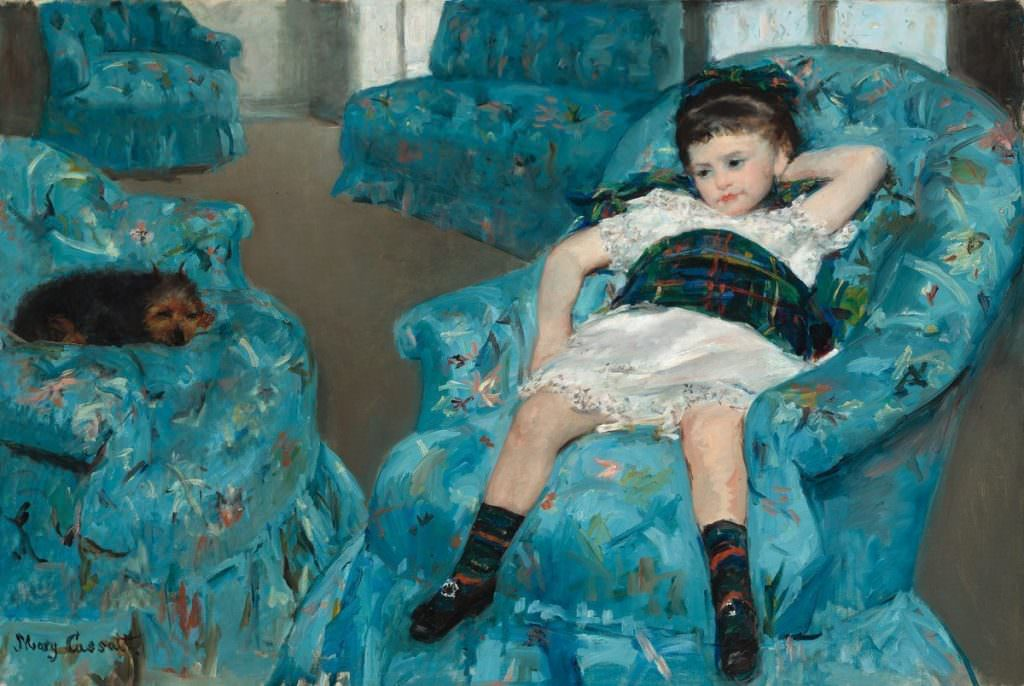 Mary Cassatt, Portrait de petite fille [Kleines Kind in einem blauen Lehnsessel], 1878, Öl auf Leinwand, 89.5 x 129.8 cm (National Gallery of Art, Washington, Collection of Mr. and Mrs. Paul Mellon)