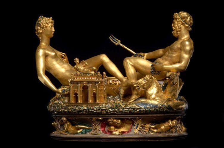 Cellini, Salzfass (Saliera), 1540–1543, Gold, Email, Ebenholz, Elfenbein, 28,5 cm × 21,5 cm × 26,3 cm (Kunsthistorisches Museum Wien)