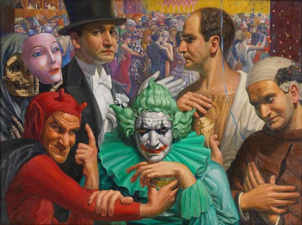 Cesare Sofianopulo, Masken, 1930, Öl/Lw, 77,5 x 103 cm (Museo Revoltella © Nicola Eccher)