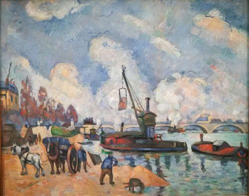 Paul Cézanne, Am Quai d'Austerlitz in Paris, nach Guillaumin [La Seine au quai d'Austerlitz, d'après Guillaumin], 1876–1878, Öl/Lw, 59,5×72,5cm (Hamburger Kunsthalle, Inv. Nr. HK-2374 R 293/FWN 104)