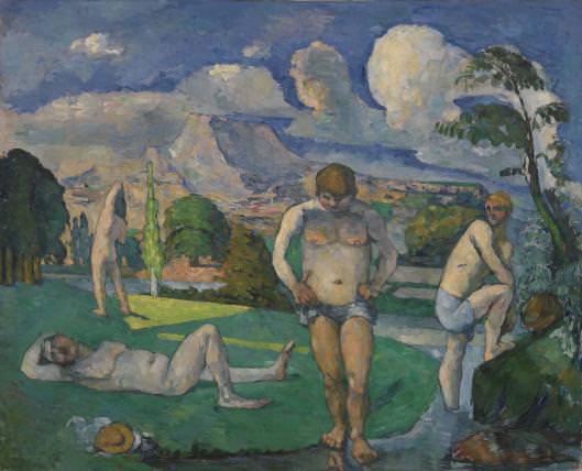 Paul Cézanne, Les Bagneurs [Badende], 1876/77, Öl auf Leinwand, 82 x 101.3 cm (Barnes Foundation)