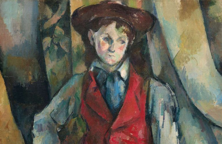 Paul Cézanne, Knabe in roter Weste, Detail, 1888-1890, Öl auf Leinwand, 89.5 x 72.4 cm (National Gallery of Art, Washington, Collection of Mr. and Mrs. Paul Mellon, in Honor of the 50th Anniversary of the National Gallery of Art)
