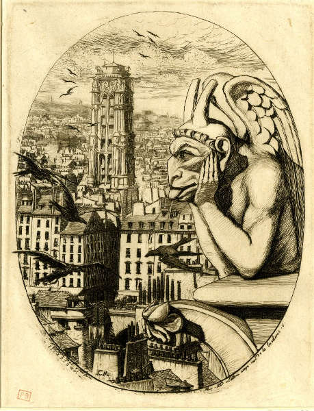 Charles Meryon, Gargoyle, 1853, Platte 6, aus einer Serie von Radierungen mit Ansichten von Paris, Radierung, Stich (© The Trustees of the British Museum)