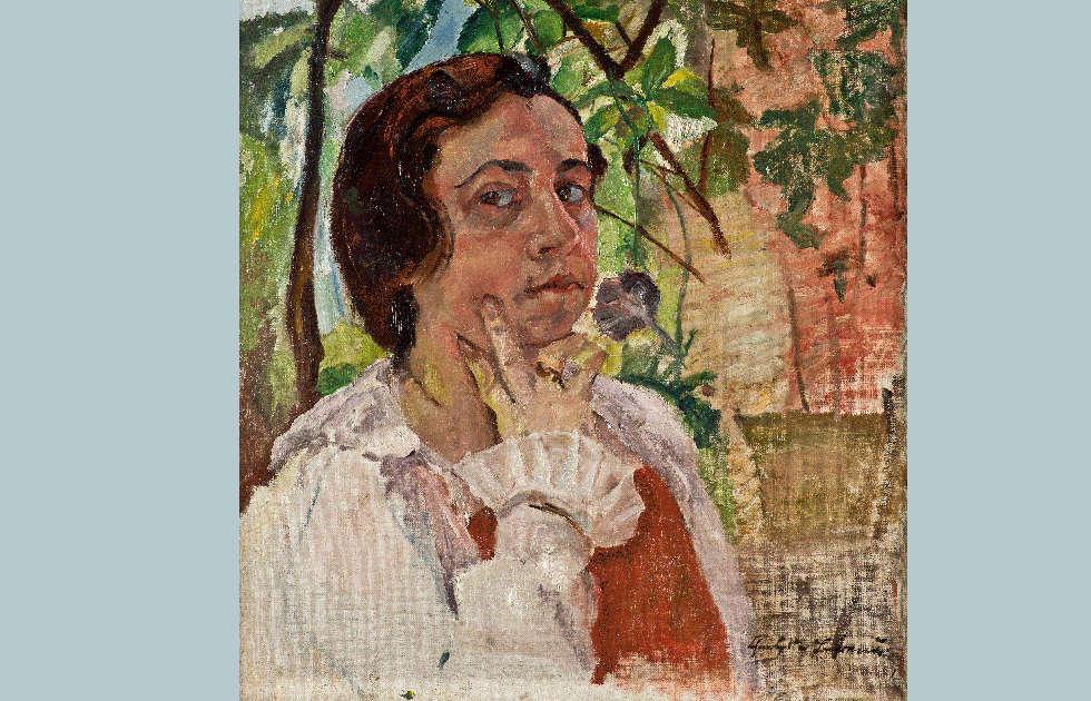 Charlotte Berend-Corinth, Selbstporträt, Detail, 1921 (© Friedhelm Oriwol-Walchenseemuseum Urfeld)