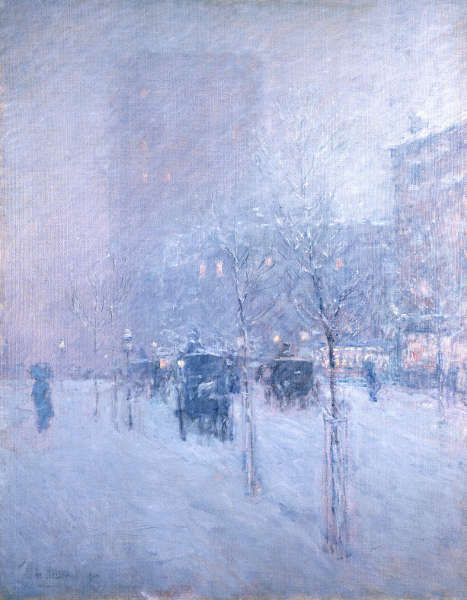 Childe Hassam, Late Afternoon, New York, Winter [Spätnachmittag, New York, Winter], 1900, Öl auf Leinwand (Brooklyn Museum, Dick S. Ramsay Fund 62.68)