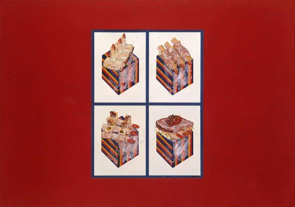 Christian Ludwig Attersee, Fingerimbiss, 1965, Collage mit Illustriertenabbildungen und spektralfarbenen Würfeln (Farbstift auf Karton) auf Karton, 70 x 100 cm (Privatbesitz)