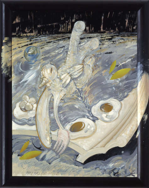 Christian Ludwig Attersee, Jagdwarten, 1980, Acryl und Lack auf grundierter Leinwand, Holzrahmen bemalt, 105 x 80 cm, Rahmenmaß: 120,5 x 95,5 cm (Privatbesitz)