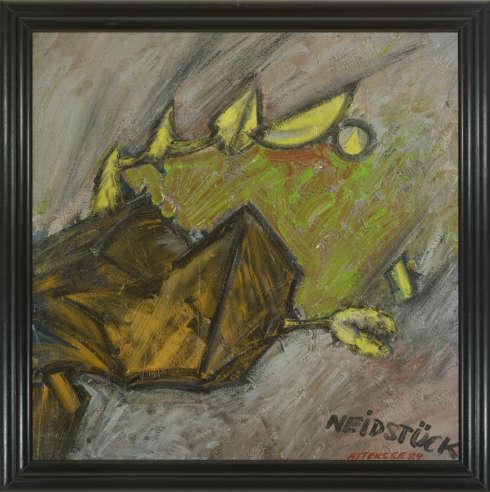 Christian Ludwig Attersee, Neidstück, 1984, Acryl und Lack auf grundierter Leinwand, schwarzer Holzrahmen 105 x 105 cm, Rahmenmaß: 118 x 118 cm (Privatbesitz)