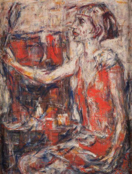 Christian Rohlfs, Frau mit Spiegel, 1928, Öl auf Leinwand, 79,5 × 60,5 cm (Sammlung Fritz und Hermi Schedlmayer, Foto: Erich Hussmann, image industries)