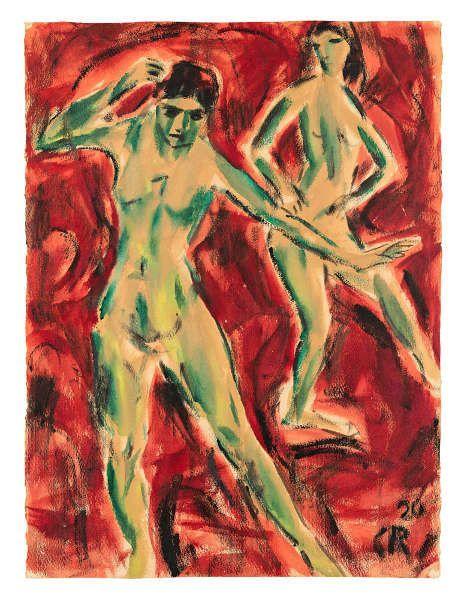 Christian Rohlfs, Tänzerinnen, 1920, Aquarell und Gouache, 67 x 50 cm (Bielefelder Privatbesitz, Foto: Philipp Ottendörfer)