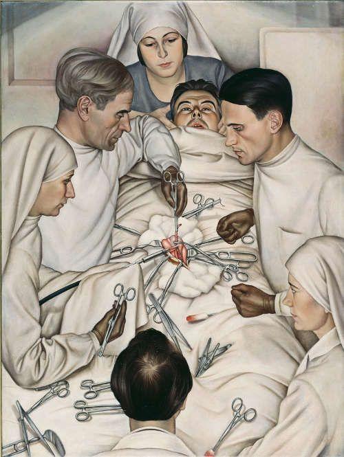 Christian Schad, Operation, 1929, Öl auf Leinwand (Städtische Galerie im Lenbachhaus und Kunstbau, München, Christian Schad Stiftung Aschaffenburg)