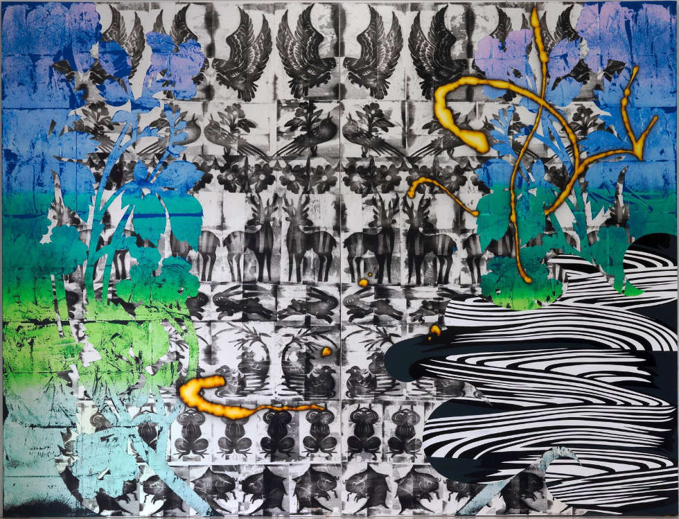 Christine Streuli, Christine Streuli, Warpainting_005, 2016/17, Mischtechnik auf Leinwand, 243,5 x 173 cm (Courtesy the artist & Galerie Sfeir-Semler, Hamburg/Beirut © Christine Streuli)