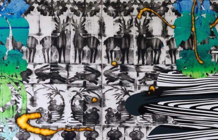 Christine Streuli, Christine Streuli, Warpainting_005, Detail, 2016/17, Mischtechnik auf Leinwand, 243,5 x 173 cm (Courtesy the artist & Galerie Sfeir-Semler, Hamburg/Beirut © Christine Streuli)
