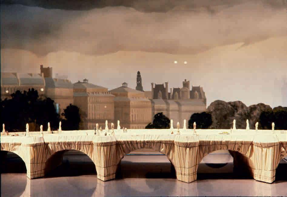 Christo und Jeanne-Claude, Ansicht des Modells des Pont-Neuf Wrapped und seiner Präsentation im Schaufenster von La Samaritaine, Paris, Oktober 1981, Holz, Stoff, Draht, Kunstschaum, Plexiglas, Heftklammern und Kleber / 82 × 611 × 478 cm / © Christo 1981 / Foto © Alle Rechte vorbehalten