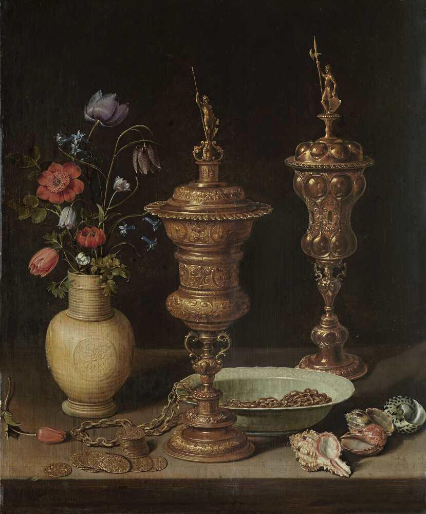 Clara Peeters, Stillleben mit Blumen, goldenen Kelchen, Münzen und Muscheln, 1612, Öl auf Holz, 59.5 x 49 cm (Karlsruhe, Staatliche Kunsthalle)