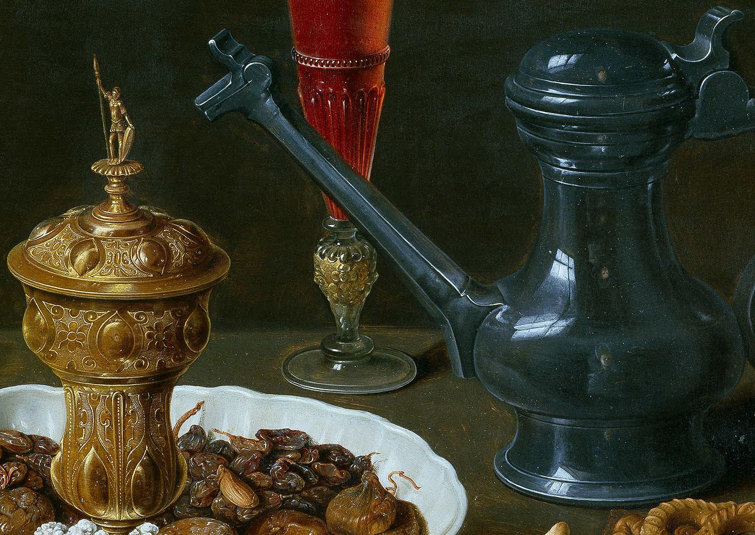 Clara Peeters, Stillleben mit Blumen, goldenem Kelch, Mandeln, getrockneten Früchten, Bonbons, Keksen, Wein und ein Zinnkrug, Detail, 1611, Öl auf Holz, 53 x 73 cm (Madrid, Museo Nacional del Prado)
