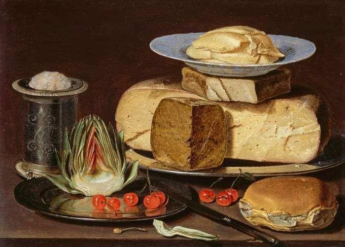 Clara Peeters (um 1594–nach/vor 1657), Stillleben mit Käse, Artischocke und Kirschen, um 1625, Öl auf Holz, 46,67 x 33,34 cm (ungerahmt) (LACMA, Los Angeles, Gift of Mr. and Mrs. Edward W. Carter, Inv. M.2003.108.8)