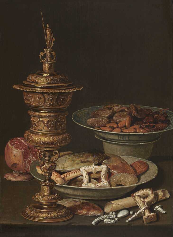 Clara Peeters, Stillleben mit Süßigkeiten, Granatapfel, goldener Kelch (Deckelpokal) und Porzellan, 1612, Öl auf Holz, 45.5 x 33 cm (Privatsammlung)