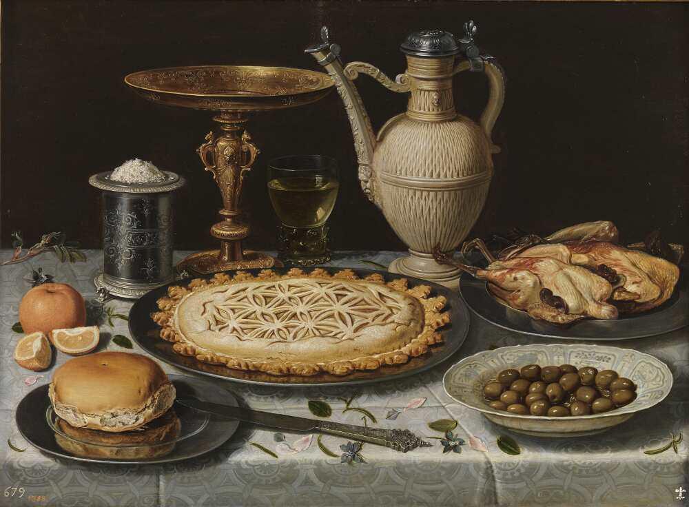 Clara Peeters, Tisch mit Tuch, Salzgefäß, goldenem Becher, Pastete, Krug, Porzellanplatte mit Oliven und gekochtem Huhn, um 1611, Öl auf Holz, 55 x 73 cm (Madrid, Museo Nacional del Prado)