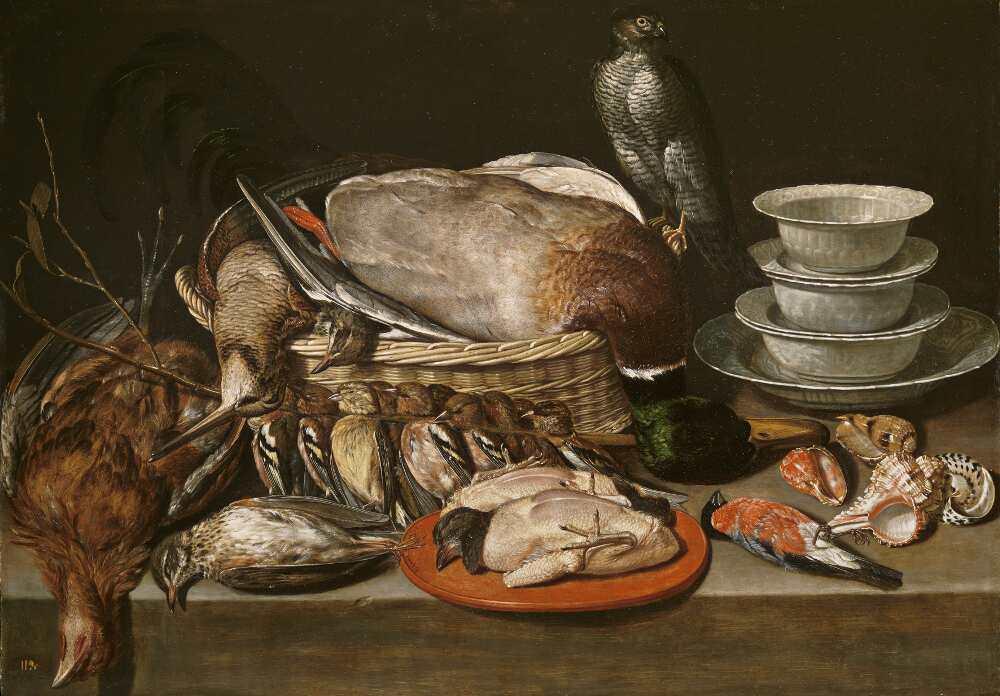 Clara Peeters, Stillleben mit Sperber, Huhn, Porzellan und Muscheln, 1611, Öl auf Holz, 52 x 71 cm (Madrid, Museo Nacional del Prado)