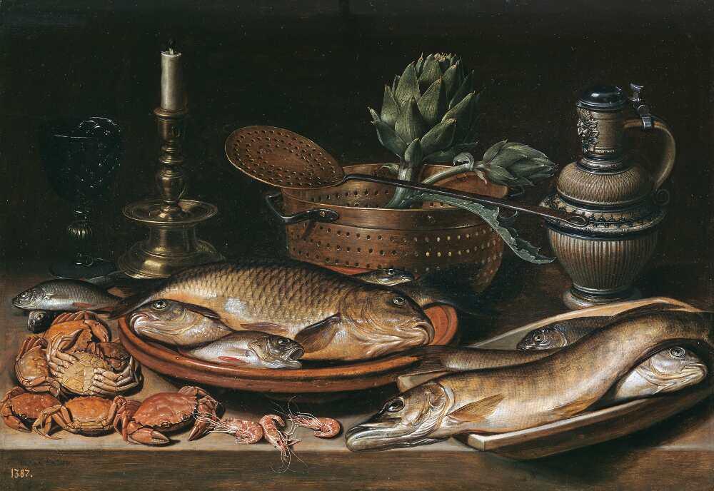 Clara Peeters, Stillleben mit Fisch, Kerze, Artischocken, Krabben und Shrimp, 1611, Öl auf Holz, 50 x 72 cm (Madrid, Museo Nacional del Prado)